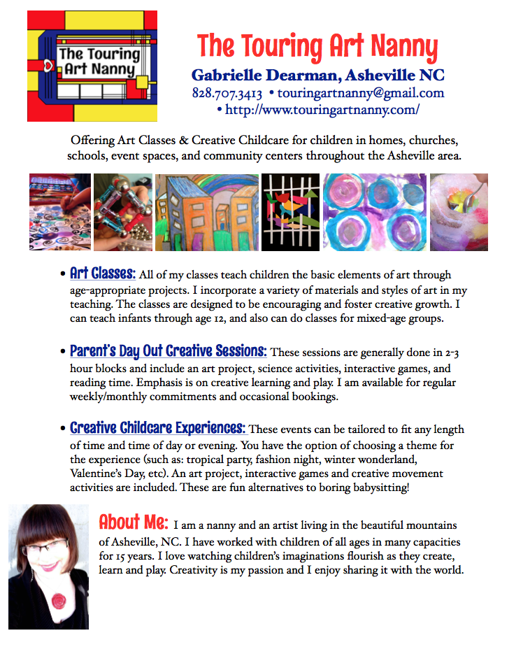 PDF Flyer of My Services – The Touring Art Nanny
